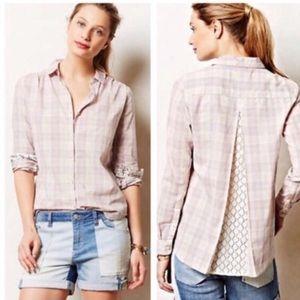 Anthropologie Isabella Sinclair Plaid Lace Shirt S